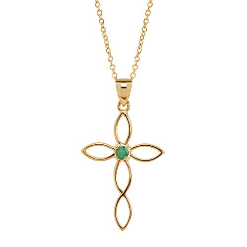 Natural Emerald Open Cross Pendant Necklace in 18K Gold-Plated Sterling Silver