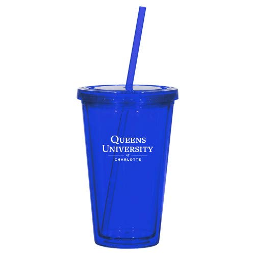 Queens U of Charlotte Madison Double Wall Blue Tumbler w/Straw 16oz 'University Mark' from CollegeFanGear