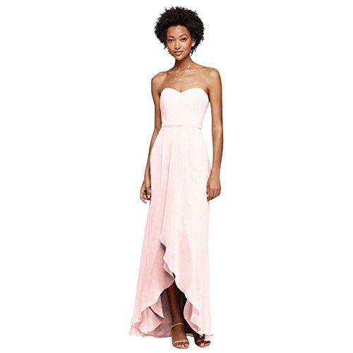 David's Bridal Strapless Bridesmaid Dress With High-Low Hem Style F19262, Petal, (Strapless Petal Dress)