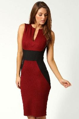 Red and Black Knee Length Dresses