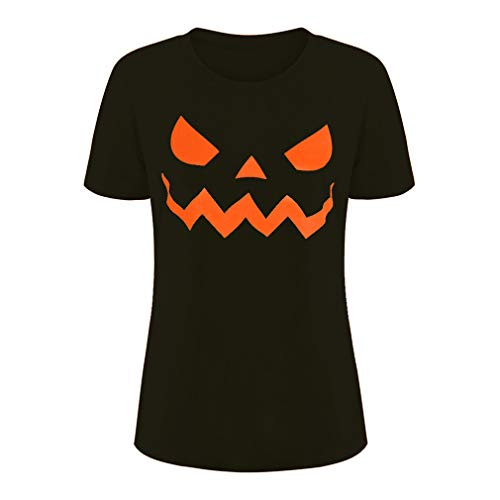 Csbks Jack O' Lantern Pumpkin Face Ladies' T-Shirt Halloween Costume Fun Tee Black XL