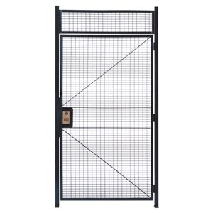 WireCrafters HD478RW RapidWire Welded Steel Wire Mesh Hinged Door with 1' High Transom Panel and 2 Door Posts, 4' Width x 7'3-1/4