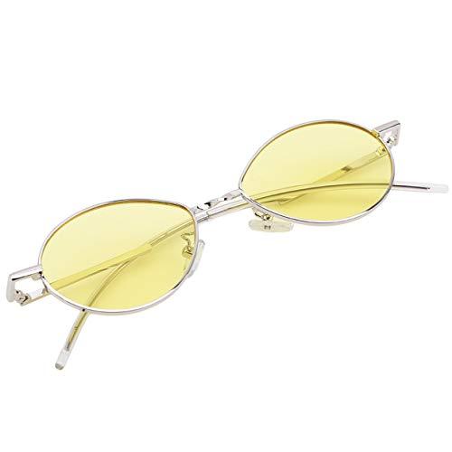 Femmes Style Lunettes Soleil d'été Jaune Petit Des Dames Rétro Ovale de EJY q5tw4fR5