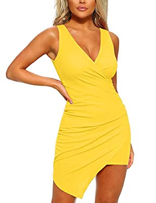 Mizoci Women's Casual Sleeveless Ruched Cocktail Party Dresses Bodycon Mini Sexy Club Dress