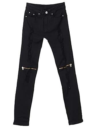 Amazon.com: Man s Skinny Ripped Jeans Zipper rodilla ...