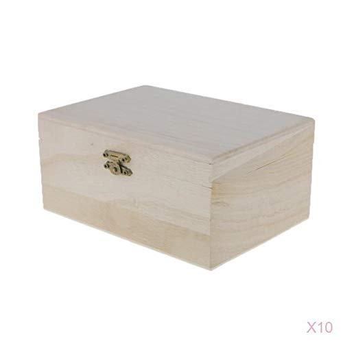 MonkeyJack Pack of 10 Unfinished Unpainted Plain Wooden Jewellery Jewlry Box Keepsake Gift