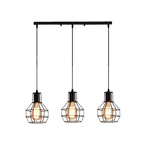 Industrial 3-Light Adjustable Cage Metal Multi-Pendant Chandelier, Black Finish
