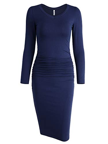 - Missufe Women's Long Sleeve V Neck Midi Casual Fitted Basic Ruched Bodycon Dress