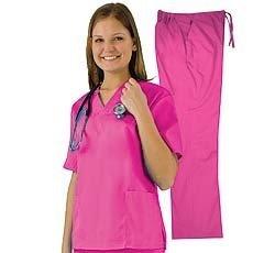 Women's Scrub Set - Medical Scrub Top and Pant, Hot Pink, X-Small