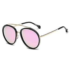 Cramilo Classic Fashion Polarized Round Oversize Top Bar Sunglasses (Gold / Pink with Black Rims, 57)