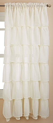 lorraine home fashions, gitano, Shabby Chic Capas de volantes cortina de ventana Panel, Crema, Panel 120' x 84', 1