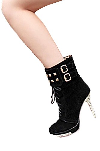 Hot SODIAL Black Stiletto Shoes Ankle Boots R Heels Pumps Sexy Women High 35 Platform wwrR5gq