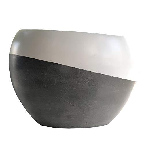 Cera Tilt Modern Flower Pot, Grey fiberstone, Dipped White