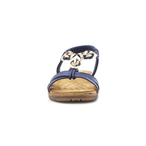 Heavenly Feet Womens Navy Pearl Flat Sandal Blue dUBpV