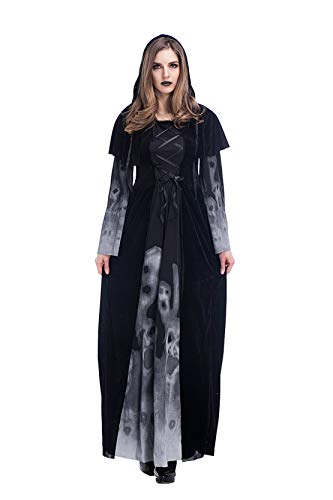 Halloween 2018 New Skeleton Print Witch's Long-Form Vampire Plus-Size Queen Costume (XX-Large) -