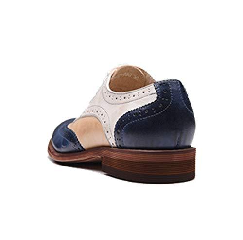 Perforados Sencillos Mgm Vintage Clásicos Cómodos Casuales Rosa Cordones Con Mujer Piel Para De Azul Y Zapatos joymod 6WrqBP6F