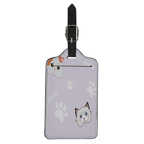 Semtomn Luggage Tag Animal Cute Cat and Paw Purple Pattern Breed Cartoon Suitcase Baggage Label Travel Tag Labels