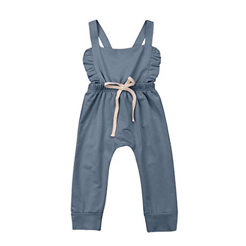 Newborn Kids Romper Jumpsuit,Crytech Soft Cotton Sleeveless Backless Ruffle Bib Pants Overalls Bodysuit Outfit Drawstring Stripe Sunsuit Clothes for Infant Toddler Baby Boy Girl (0-6 Months, Blue)