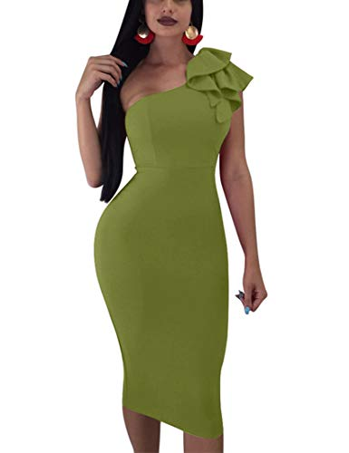 Mokoru Women's Sexy Ruffle One Shoulder Sleeveless Bodycon Party Club Midi Dress, Large, Army Green -