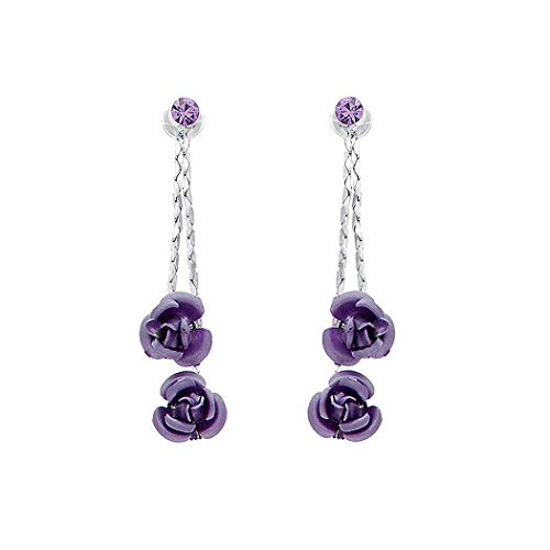 (Purple Rose Earrings with Purple Austrian Element Crystals (917))
