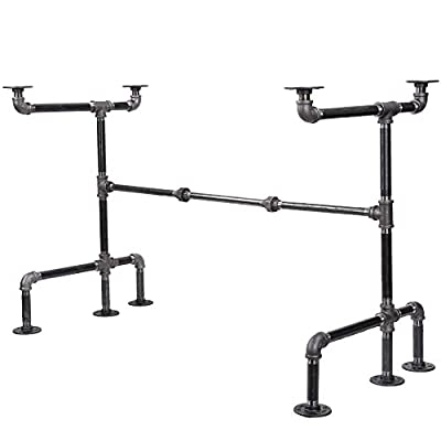 Industrial Pipe Desk Leg Set by Pipe Decor, Modern Home Office Table Writing or Computer Base Kit, Dark Grey Black Rough Pipes, Rustic Vintage Furniture Unfinished Steel Metal Pipe Legs, X-Desk Style