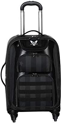 Subtle Patriot Covert Mens 4 Wheel Cabin Luggage with Hardshell, Expandable Carry On, 22 Inches, Covert Black