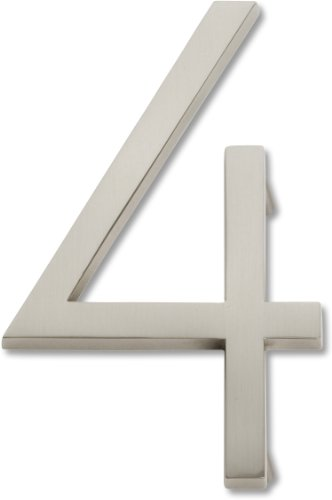 Atlas Homewares AVN4-BRN Modern Avalon House Number, Four, Brushed Nickel
