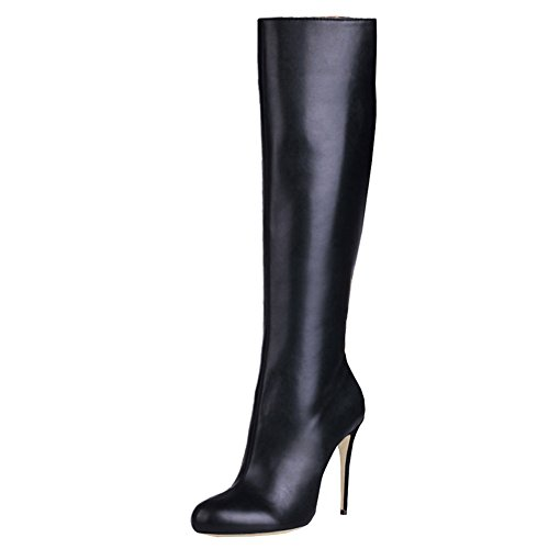 VOCOSI Women's Matte Black Knee High Combat Boots Pointed Toe Stiletto Boots for Autumn and Winter Matte-Black 11.5 US