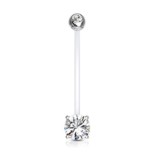 Pierced Owl Double Jeweled Prong Set Round CZ Crystal Pregnancy Maternity Bioflex Belly Button Navel Ring (Clear)