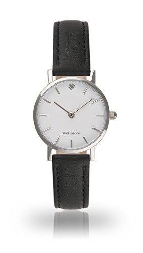 YVES CAMANI Léa Women's Wrist Watch Quartz Analog Black Leather Strap White Dial YC1098-A-710