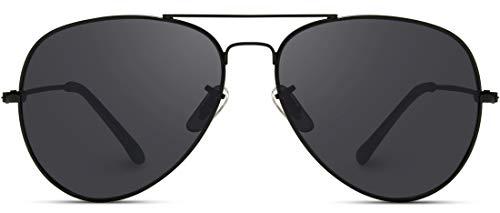 WearMe Pro - Polarized Metal Frame Pilot Style Aviator Sunglasses (Spring Hinge: Full Black, 60)