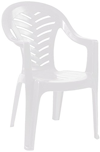 Resol Palma Garden Chair - White - Patio Outdoor Plastic Furniture (Single)