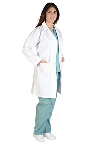 M&M Scrubs Lab Coat-Unisex 40 Inch Lab Coat L White