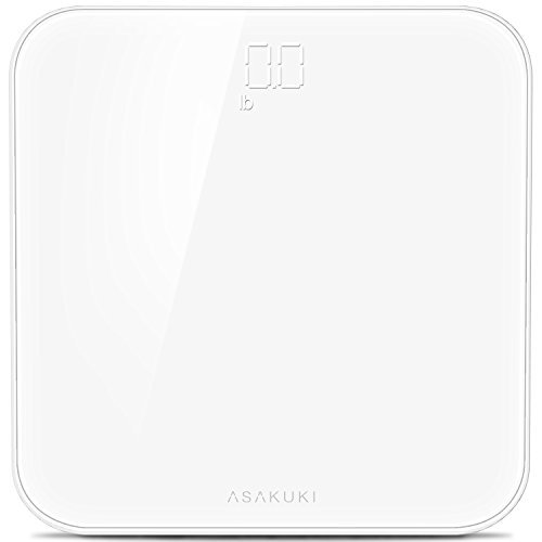 Accuracy Digital Body Weight Bathroom Scale By ASAKUKI, Ultra-Thin With Anti-Slip Pads, Seamless, Tempered Glass, Highly Precision Readings and LED Display for Home, Gyms, and Weight Watchers