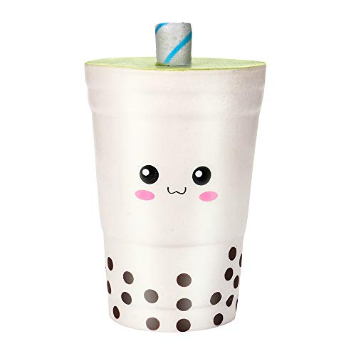 Squeeze Toys Jumbo Squishies Toy Simple Soft Milk Tea Cup Squeeze Slow Rising Stress Relief Charms Scented Kid Gift Fun Charming Home/Party/Office Supplies (White) (Scented Beauty Cup American)