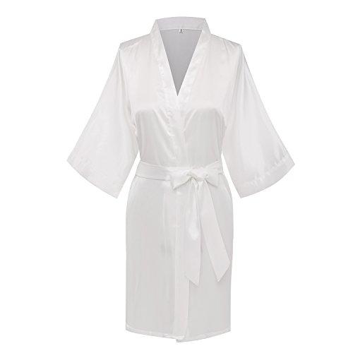 Goodmansam Womens Simplicity Stlye Bridesmaid Wedding Party Kimono Robes, Short, Medium, Pure White4,Pure White4,Medium ()