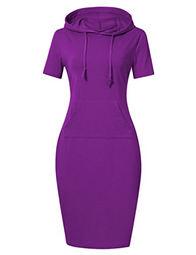 MISSKY Short Sleeve Purple Dresses for Women Pullover Stripe Pocket Knee Length Slim Sweatshirt Casual Hoodie Dress (S, Purple Short Sleeve)