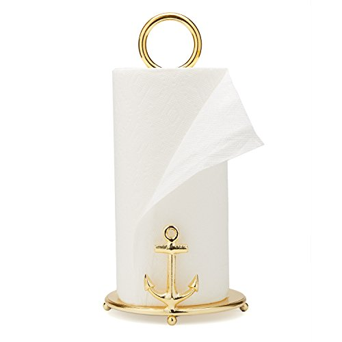 Two's Company 51475 Anchors Away Golden Paper Towel Stand, Gold