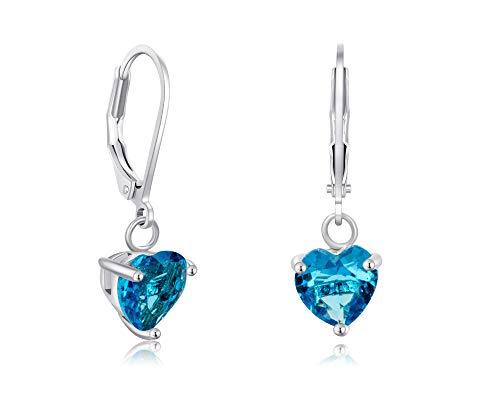 (Buyless Fashion Girls And Women Heart Stone Dangle Earrings Silver Jewelry - EDGHRTAQU)