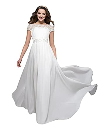 Mollybridal High Neck Lace Sheer Chiffon Evening Dresses White 2