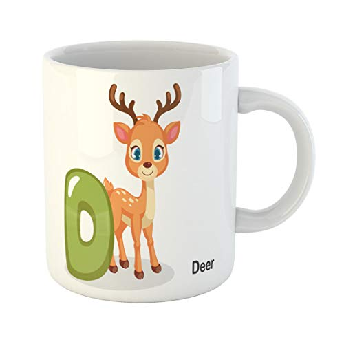 Semtomn Funny Coffee Mug Colorful Abc D for Deer Cute Alphabet Animal Beautiful 11 Oz Ceramic Coffee Mugs Tea Cup Best Gift Or Souvenir