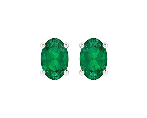 Euforia Jewels 14K White Gold Top Quality Natural Emerald 6X4 MM Oval Cut Stud Earrings With Silver Sillicon Post For Women