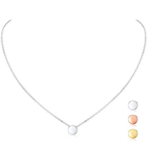 - 925 Sterling Silver Dot Necklace Round Circle Bead Floating Pendant Necklace for Women Girls, 16''