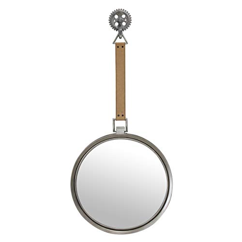Stonebriar Round Rustic Metal Mirror with Brown Leather Hanging Strap for Wall, Industrial Home D cor Unique Home Decor for Living Room, Entryway, Hallway, and Bedroom