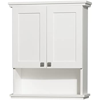 Wyndham collection acclaim solid oak bathroom wall mounted storage cabinet in white for Wyndham bathroom wall cabinet