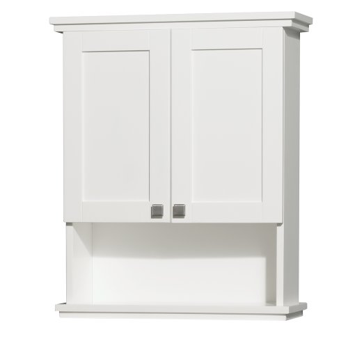 Wyndham Collection Acclaim Solid Oak Bathroom Wall-Mounted Storage Cabinet in White