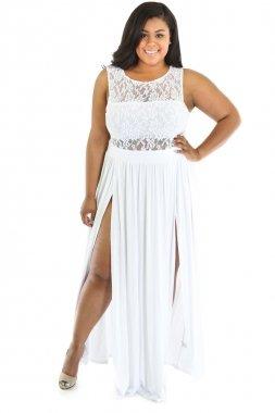 Maxi vestido de fiesta para mujer, de encaje, talla 42-44, color