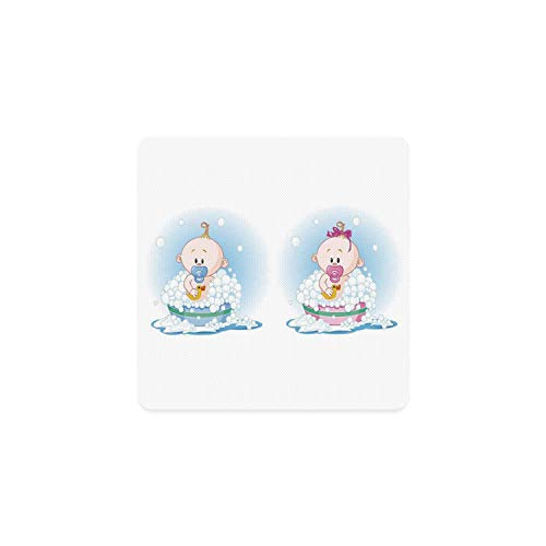 Gender Reveal Square Coaster,Cute Girl and Boy Babies in Bath with Bubbles Duck Toddler Picture Print for Home,3.5