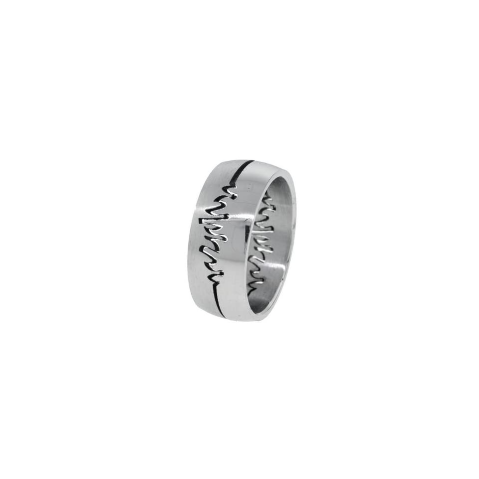 Tribal Flames Mens Stainless Steel Puzzle Ring   Size 11