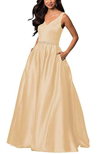- yinyyinhs Women's V Neck Prom Dresses A Line Long Beaded Evening Formal Gowns with Pockets Size 26 Champagne